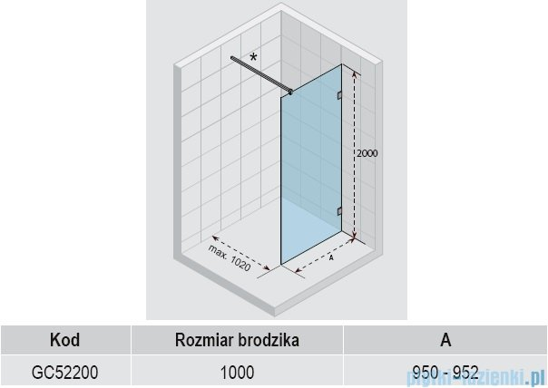 Riho Scandic S400 kabina Walk In 95x200 cm GC52200