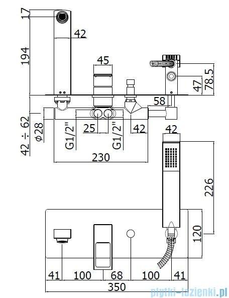 Paffoni  Bateria wannowa podtynkowa z kompletem natryskowym, chrom Effe EF001CR