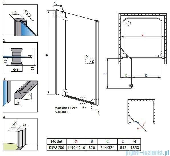 Radaway Torrenta DWJ drzwi wnękowe 120 lewe szkło grafitowe 31930-01-05N