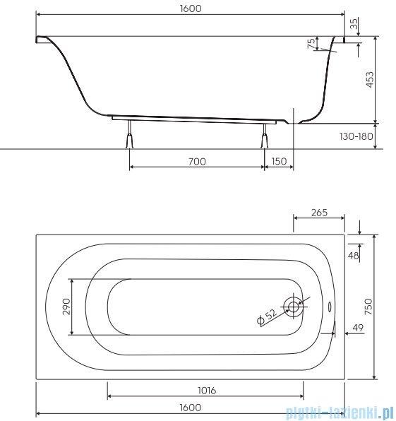 Koło Spark Wanna prostokątna 160x75cm z powłoką AntiSlide XWP1760101