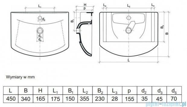 Aquaform Umywalka 45cm biała 0448-480000