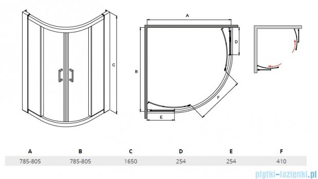 Besco Modern kabina półokrągła 80x80x165cm grafit MP-80-165-G