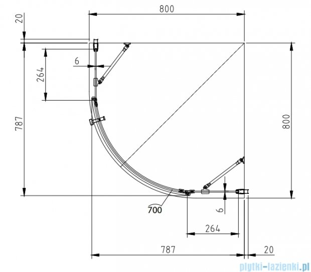 Omnires Manhattan kabina jednoskrzydłowa 80x80x185cm szkło przejrzyste+brodzik ADF80X/3.063