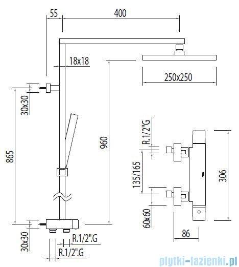 Tres Cuadro-Tres Zestaw natryskowy termostatyczny kolor chrom 1.07.964