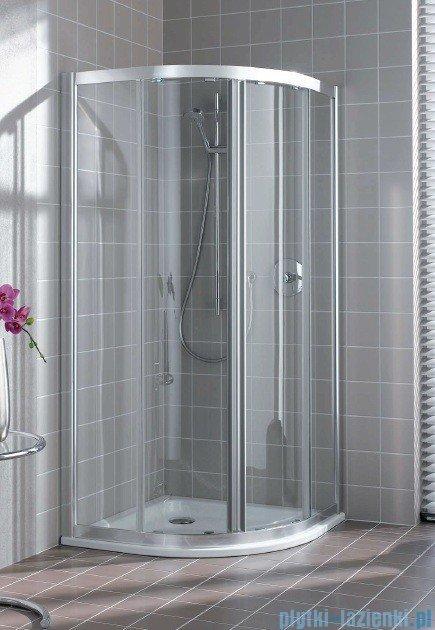 Kermi Atea Kabina ćwierćkolista, drzwi przesuwne, szkło przezroczyste, profile srebrne 80x80cm ATQ1008018VAK