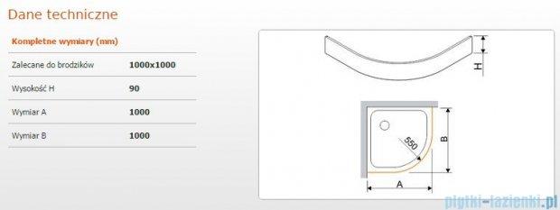 Sanplast Obudowa brodzika półokrągłego OBP 100x100x9 cm 625-400-0440-01-000
