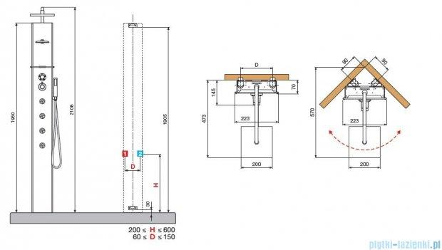 Novellini Aqua 1 Cascata 1 panel prysznicowy lustrzany bateria termostatyczna CASC1VT-W