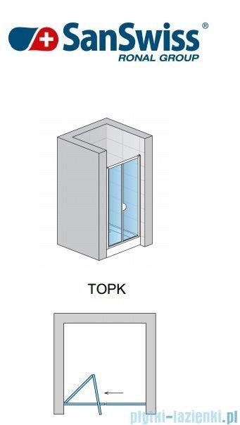 SanSwiss Top-Line Drzwi 2-częściowe 90cm profil biały TOPK09000407