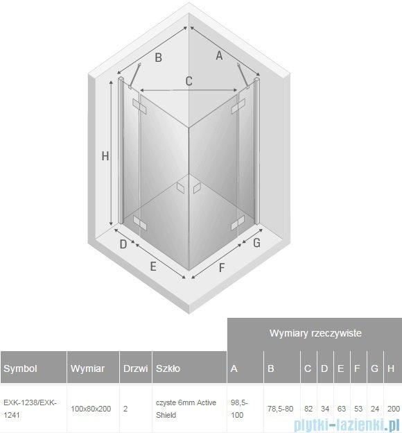 New Trendy Reflexa 100x80x200 cm kabina prostokątna przejrzyste EXK-1238/EXK-1241