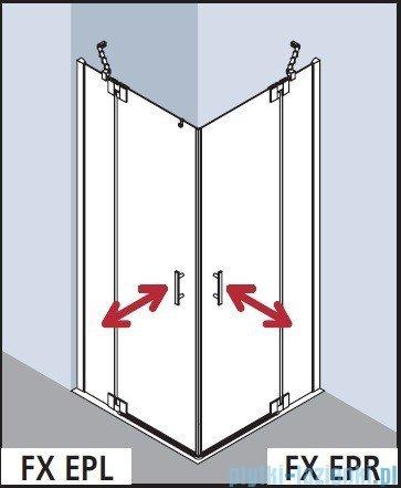 Kermi Filia Xp Wejście narożne, jedna połowa, prawa, szkło przezroczyste KermiClean, profil srebro 75x200cm FXEPR07520VPK
