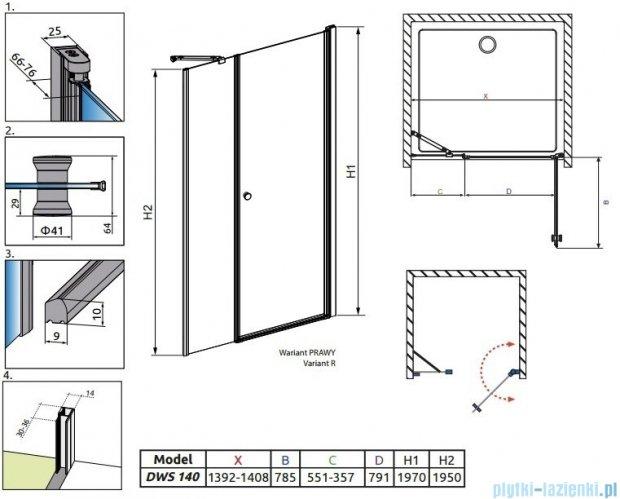 Radaway Eos DWS Drzwi wnękowe 140 prawe szkło przejrzyste 37993-01-01NR