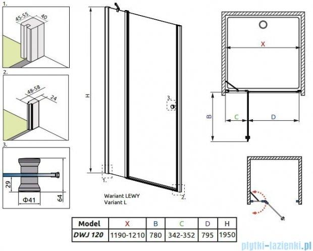 Radaway Eos II DWJ Drzwi prysznicowe 120x195 lewe szkło przejrzyste + brodzik Argos D + syfon 3799444-01L/4AD812-01