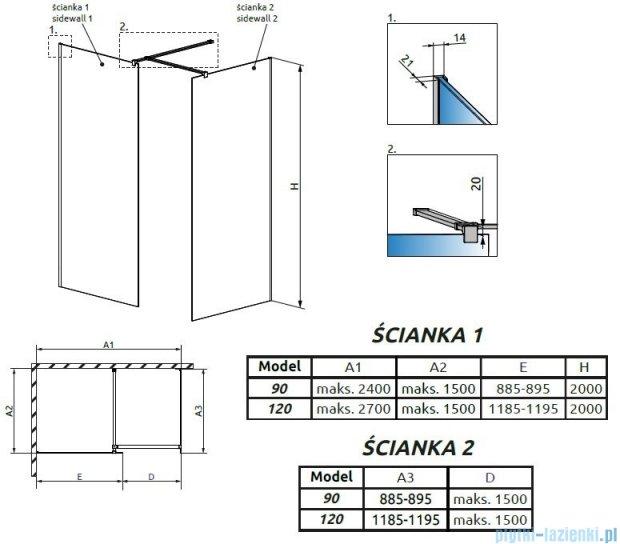Radaway Modo New III kabina Walk-in 120x90x200 szkło przejrzyste 389124-01-01/389094-01-01/389000-01