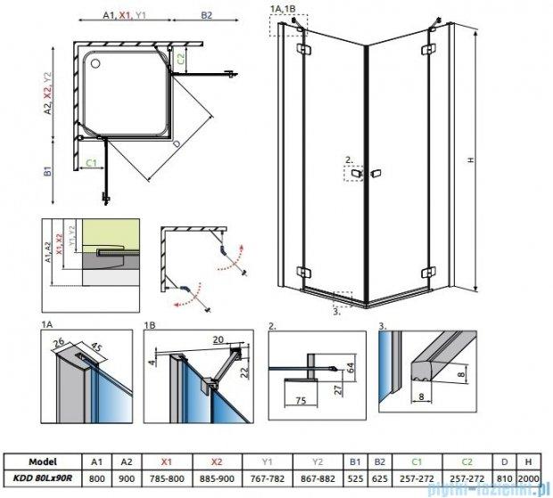 Radaway Fuenta New Kdd kabina 80x90cm szkło przejrzyste 384061-01-01L/384060-01-01R