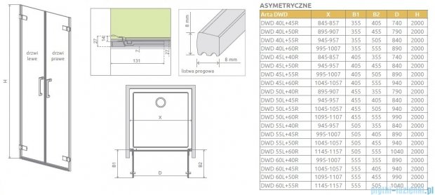 Radaway Arta Dwd drzwi wnękowe 50cm część lewa szkło przejrzyste 386032-03-01L