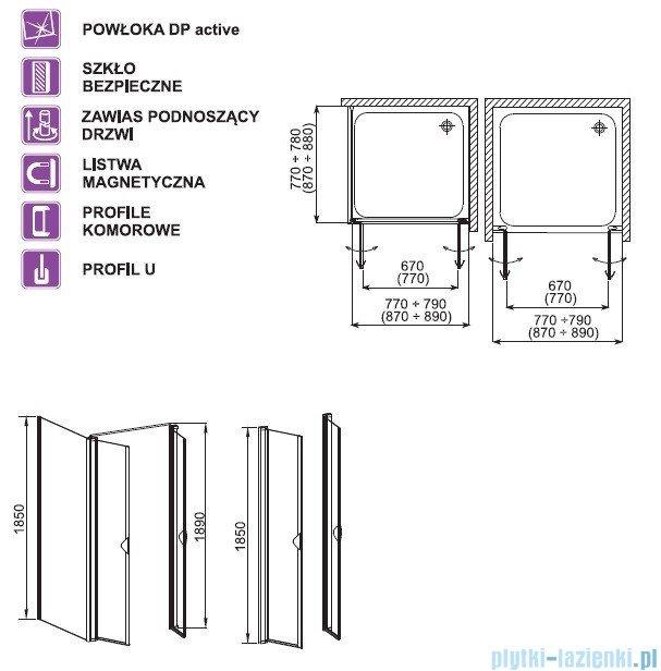 Aquaform Glass 5 drzwi wahadłowe 90cm szkło przejrzyste 06357