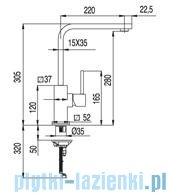 Tres Cuadro-Tres Bateria zlewozmywakowa wylewka 35x15 mm 1.30.496