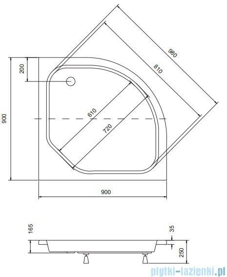 Sea Horse Sigma zestaw kabina natryskowa półokrągła - niska, 90x90 bluszcz + brodzik BKZ2/3/KA3