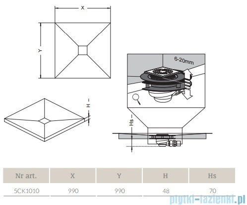 Radaway kwadratowy brodzik podpłytkowy z kratką odpływową 99x99cm 5CK1010,5K01,5SK1