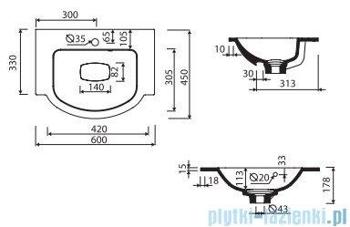 Marmorin Emma 600 umywalka nablatowa 60x45 z przelewem bez otworu na baterie biała 639060020210