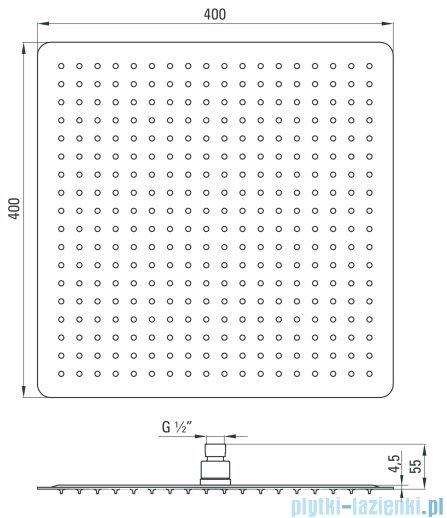 Deante Floks głowica natryskowa kwadratowa 40x40 cm chrom NAC 006K