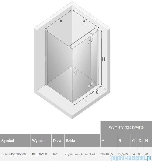 New Trendy Reflexa 100x80x200 cm kabina prostokątna prawa przejrzyste EXK-1243/EXK-0005