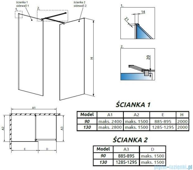 Radaway Modo New III kabina Walk-in 130x90x200 szkło przejrzyste 389134-01-01/389094-01-01/389000-01