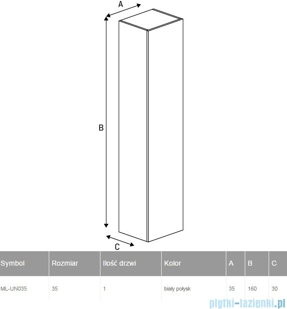 New Trendy Kubiko słupek wiszący 35x160 cm biały połysk ML-UN035