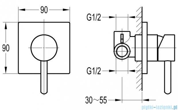 Omnires Y bateria natryskowa-wannowa podtynkowa chrom Y1245/K