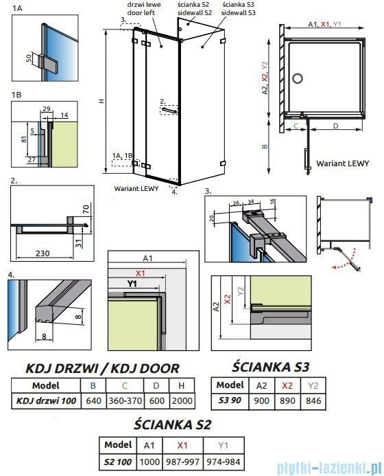 Radaway Euphoria KDJ P Kabina przyścienna 100x90x100 lewa szkło przejrzyste 383040-01L/383032-01/383035-01