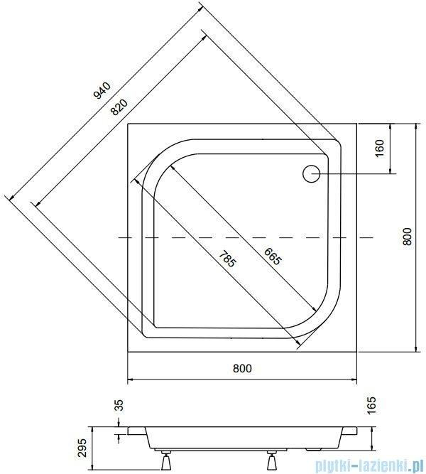 Sea Horse Sigma zestaw kabina natryskowa kwadratowa 80x80x162 chinchila + brodzik BKZ1/3/QK