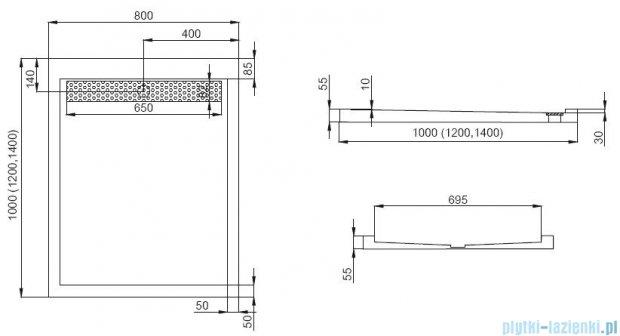 Polimat West brodzik akrylowy posadzkowy z rusztem 140x80cm 00541