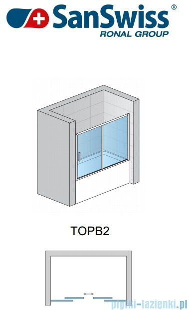 SanSwiss Top-Line TOPB2 Parawan nawannowy 2-częściowy 180cm profil biały TOPB218000407