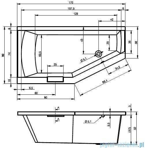 Riho Geta Wanna asymetryczna 170x90 prawa z hydromasażem TOP Hydro 6+4+2/Aero11 BA88T5