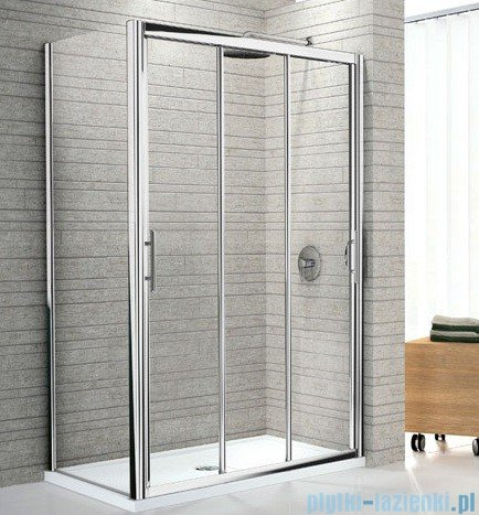 Novellini Drzwi prysznicowe przesuwne LUNES P 96 cm szkło przejrzyste profil biały LUNESP96-1D