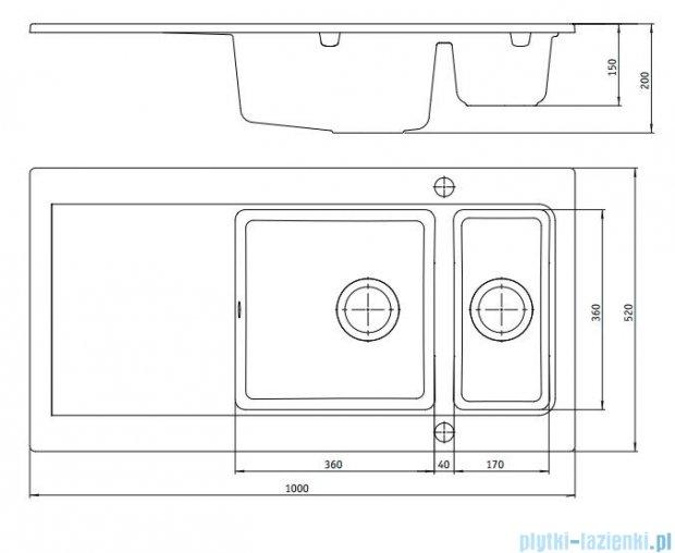 Deante Modern Zlewozmywak 1,5-komorowy z ociekaczem, kolor szary metalik ZQM S513
