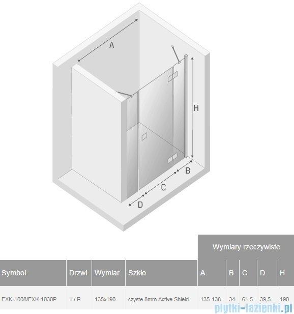New Trendy Modena Plus drzwi prysznicowe 135cm prawe szkło przejrzyste EXK-1008/EXK-1030P