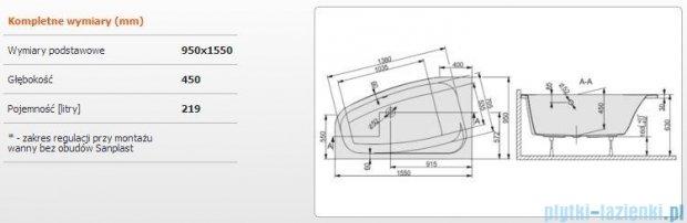 Sanplast Free Line Wanna asymetryczna lewa+stelaż WAL/FREE 155x95+ST26, 610-040-0760-01-000