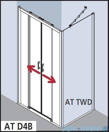 Kermi Atea Drzwi przesuwne bez progu, 4-częściowe, szkło przezroczyste z KermiClean, profile srebrne 110x185 ATD4B11018VPK