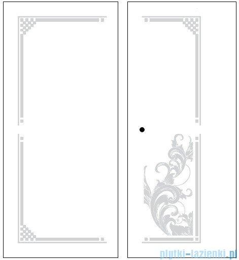 Kerasan Kabina prostokątna lewa, szkło dekoracyjne przejrzyste, profile złote 80x96 Retro 9142N1