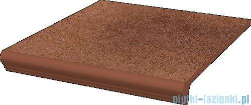 Paradyż Taurus brown klinkier stopnica z kapinosem prosta 30x33