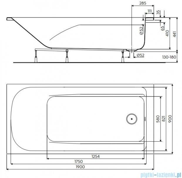 Koło Comfort Plus Wanna prostokątna 190x90cm bez uchwytów XWP1490