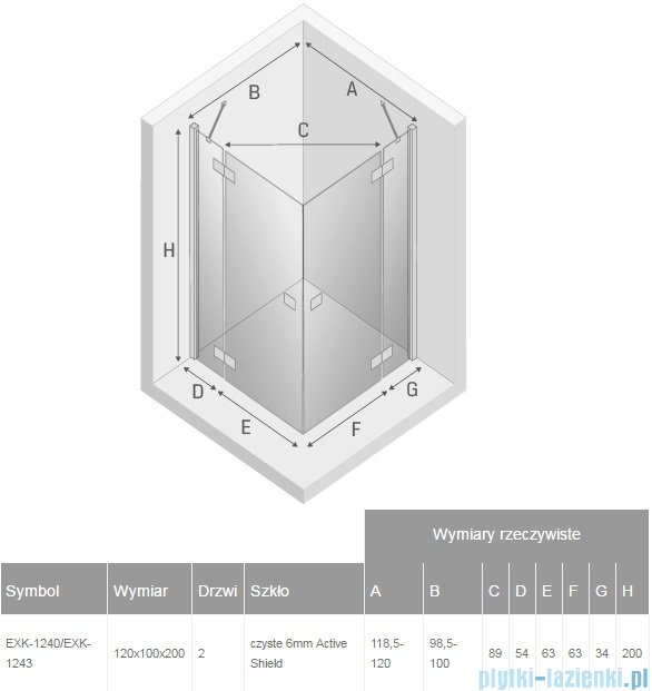New Trendy Reflexa 120x100x200 cm kabina prostokątna przejrzyste EXK-1240/EXK-1243