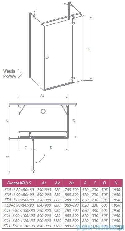 Radaway Kabina prysznicowa Fuenta KDJ+S 80x120x80 prawa szkło przejrzyste 381032-01R1 / 381032-01R2