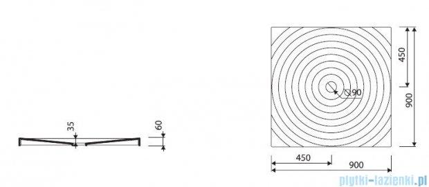 Marmorin Rosa 90 brodzik kwadratowy 90x90 cm biały 250090201