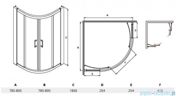 Besco Modern kabina półokrągła 80x80x185cm grafit MP-80-185-G