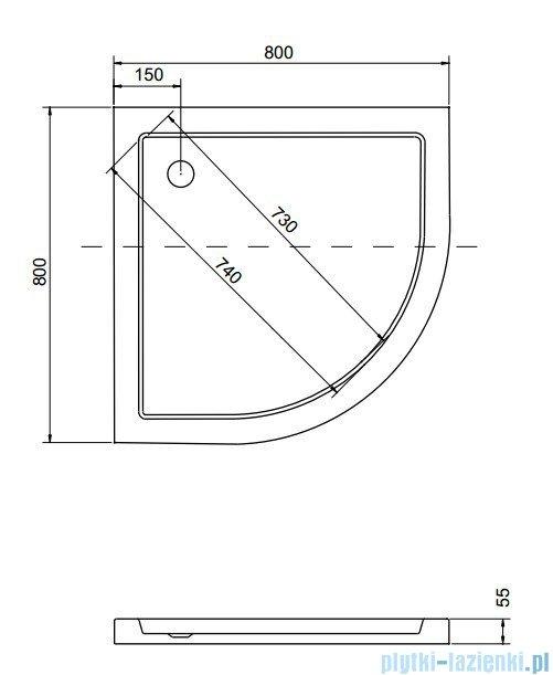 Besco Aron Brodzik 80x80x3/5.5cm półokrągły wpuszczany w posadzkę #BAA-80-NR