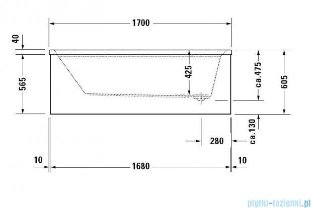 Duravit 2nd floor Wanna prostokątna 170x75cm na stelażu do obudowy meblowej 700080 00 0 00 0000w