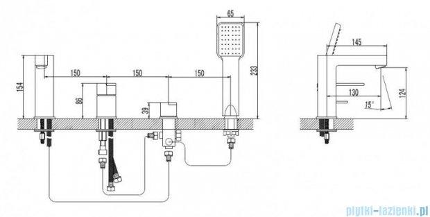 Omnires Columbia bateria wannowa 4-otworowa chrom CO1132