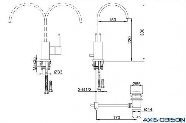 Kohlman Axis bateria umywalkowa z obrotową wylewką QB150N